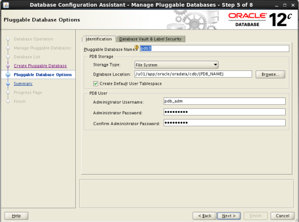 Create PDB Using DBCA_New PDB_NAME