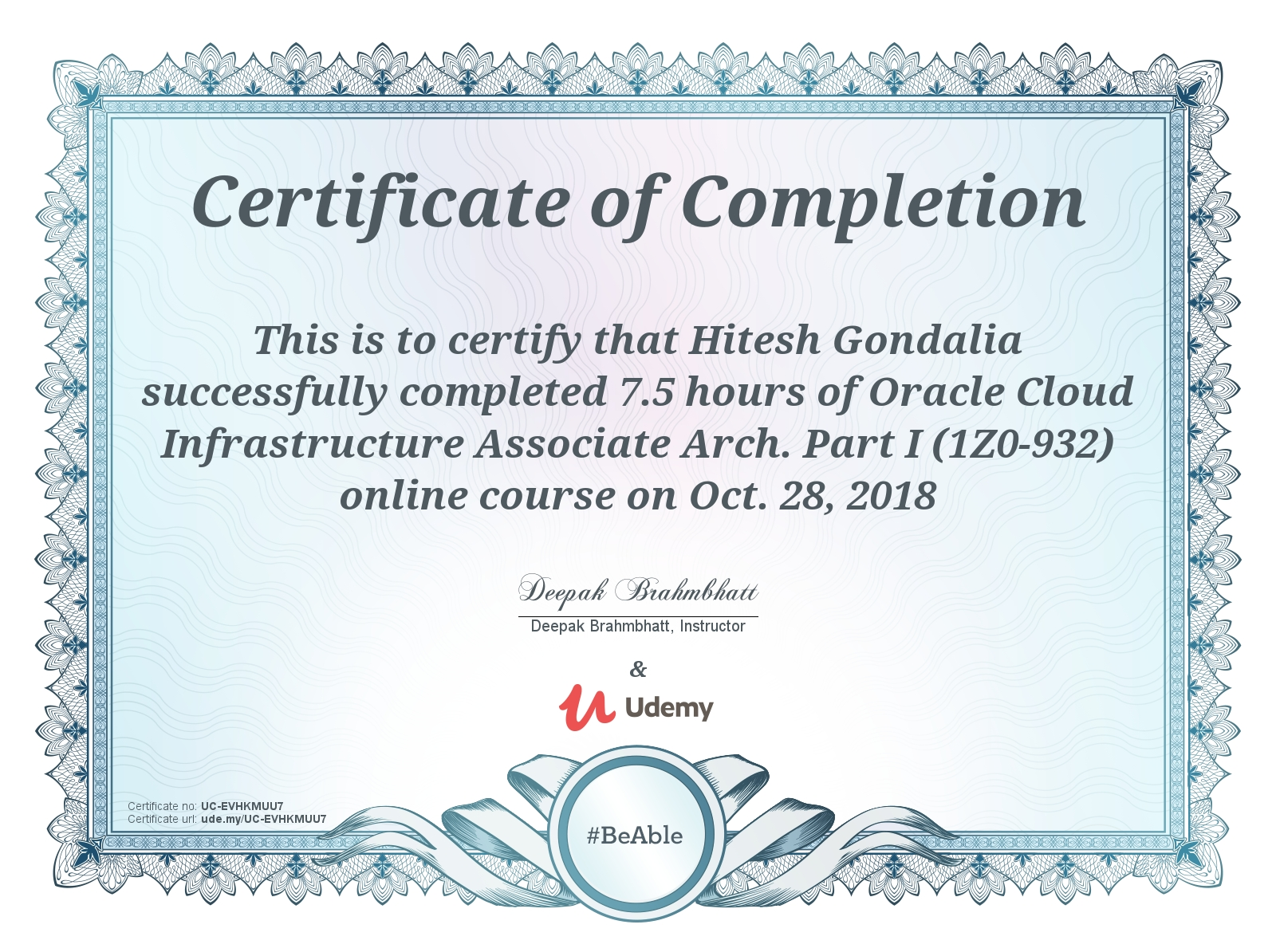 Oracle Cloud Infrastructure Associate Arch. Part I (1Z0-932)